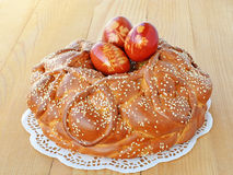 Easter bread on wooden table royalty free stock photography