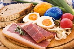 Easter Breakfast. Traditional Easter Breakfast with ham and eggs Royalty Free Stock Photography