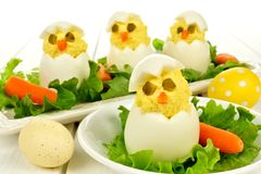Easter breakfast of chick eggs Royalty Free Stock Photography