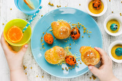 Easter breakfast for the child, beautiful composition with kid h Royalty Free Stock Photography