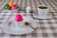 Easter Breakfast. Breakfast with colorful egg and coffee Stock Images
