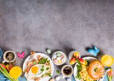 Easter holiday breakfast flat lay Royalty Free Stock Images
