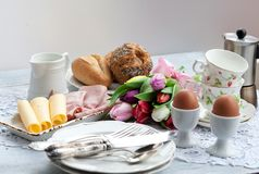 Easter breakfast, high tea, table setting for a festive dinner royalty free stock image