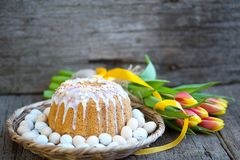 Easter breakfast, high tea, table setting for a festive dinners, knitted tablecloth Stock Images