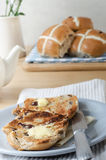 Easter Breakfast Hot Cross Buns and Tea Stock Photo