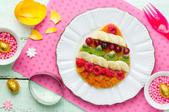 Easter breakfast idea - pancakes shaped colorful Easter egg with Royalty Free Stock Photography
