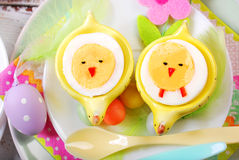 Easter breakfast for kids with boiled eggs as chicks Stock Photos