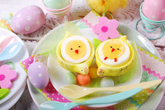 Easter breakfast for kids with boiled eggs as chicks Stock Image