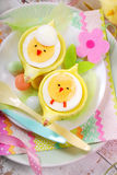 Easter breakfast for kids with boiled eggs as chicks Royalty Free Stock Image