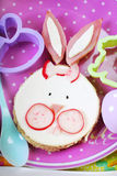 Easter breakfast for kids with funny sandwich Royalty Free Stock Photos