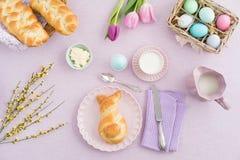 Easter breakfast. Scene shot from above Stock Photos
