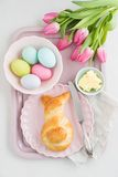 Easter breakfast table Stock Photos