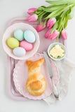 Easter breakfast table Stock Photos