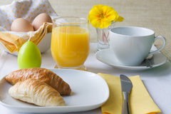 Easter breakfast on yellow white stock photo