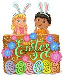 Easter bright wooden banner design paper flowers with lace and kid royalty free stock images