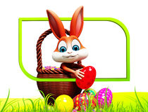 Easter brown bunny pick up red egg Stock Photos
