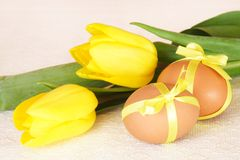 Easter Brown Eggs and Yellow Tulips. Easter Brown Eggs Tied with Ribbon and Yellow Tulips Royalty Free Stock Image