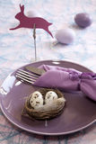 Easter brunch. With pink plate and easter bunny Royalty Free Stock Photography