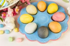 Easter brunch. Dessert table set with cake and cupcakes for Easter brunch Royalty Free Stock Images