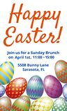 Easter Brunch invitation card. With easter eggs isolated on white Stock Photos