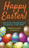 Easter Brunch invitation card. With easter eggs on wooden background Royalty Free Stock Images