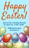 Easter Brunch invitation card. With easter eggs on blue background Stock Images