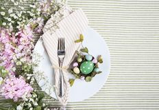 Easter Brunch Place Setting White Plate Pink Flowers Royalty Free Stock Image