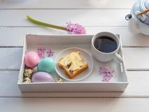 Easter brunch on a serving tray, top view royalty free stock photo