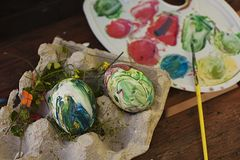 Easter. Painted eggs. Paint eggs, paint, colors, spring. royalty free stock image