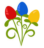 Easter Bunch. Colorful Easter Eggs in imitation bunch of flowers Royalty Free Stock Images