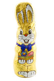 Easter bunnie. Easter chocolate bunnie in foil isolated over white Stock Image