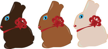 Easter bunnies. Three easter bunnies isolated on white Royalty Free Stock Photo