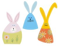 Easter bunnies. Set of 3 easter bunnies Royalty Free Stock Image