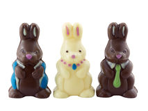 Easter Bunnies. Photo of three chocolate easter bunnies isolated on white Stock Images