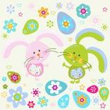 Easter bunnies. Background for kids stock illustration