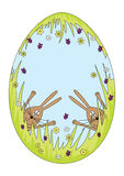 Easter bunnies. Vector illustration of an Easter egg with happy bunnies. Fully EPS 10, no transparencies, no gradients royalty free illustration