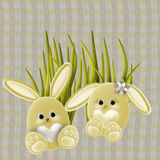 Easter Bunnies. And grass, background with checked design vector illustration