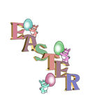 Easter bunnies and 3D text stock images