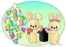 Easter bunnies. Original file was created in Adobe Illustrator Stock Image