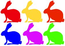 Easter bunnies. Six colored easter bunnies. Available as Illustrator-File Royalty Free Stock Image