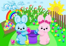 Easter bunnies. This image is a vector illustration and can be scaled to any size without loss of resolution. This image will download as a .eps file. You will Stock Photography