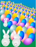 Easter bunnies. Getting eggs ready for the hunt vector illustration