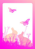Easter bunnies. Floral  vector illustration with two easter bunny silhouettes Royalty Free Stock Image