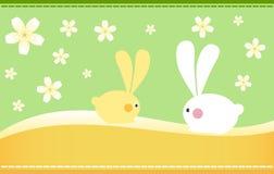 Easter Bunnies. On Spring Background vector illustration