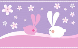 Easter Bunnies. On Spring Background royalty free illustration