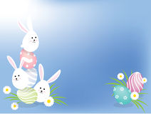 Easter bunnies background. Colorful easter eggs and bunnies background Stock Photos