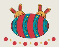 Easter bunnies on the background of a large egg, painted on Easter. vector illustration