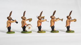 Easter bunnies big band, instruments, white background. Easter bunnies big band, instruments and big drum, white background Royalty Free Stock Image