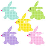 Easter bunnies with bunny patterns. Clipart stock illustration