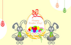 Easter bunnies card. Illustration with Easter bunnies holding a basket of Easter eggs. Happy Easter Day Royalty Free Stock Photo